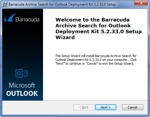 Barracuda Archive Search for Outlook Deployment for Windows