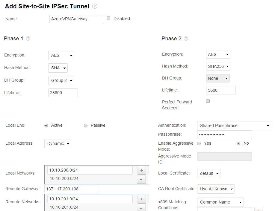 How to Configure a Site-to-Site IPsec VPN to the Microsoft Azure VPN ...