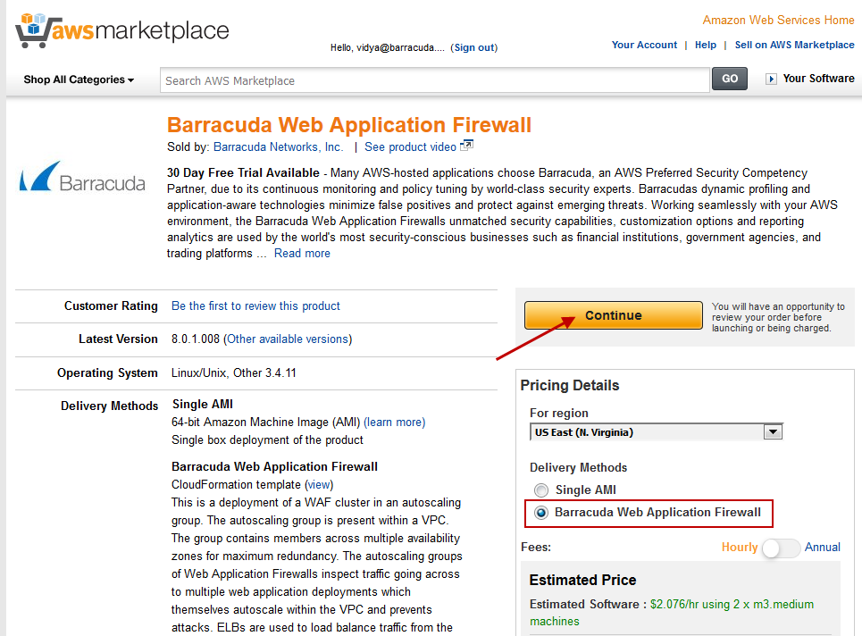 Importing the Barracuda CloudGen WAF for AWS PAYG CFT and