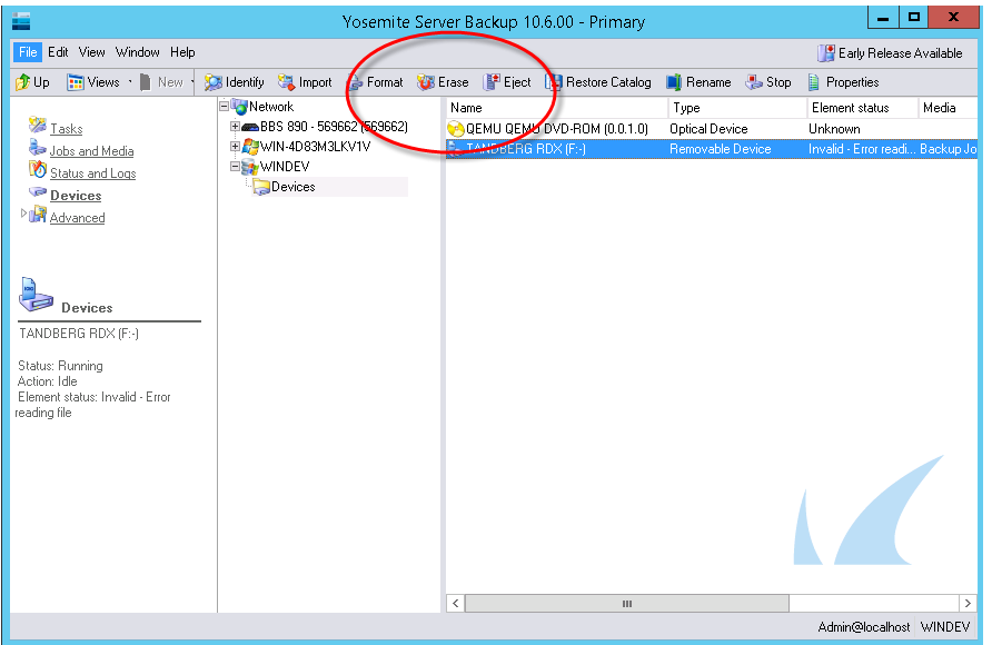 Resolving Backup Issue for Removable Media and Yosemite Server