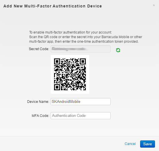 Barracuda Networks Android Mobile App and Multi-Factor