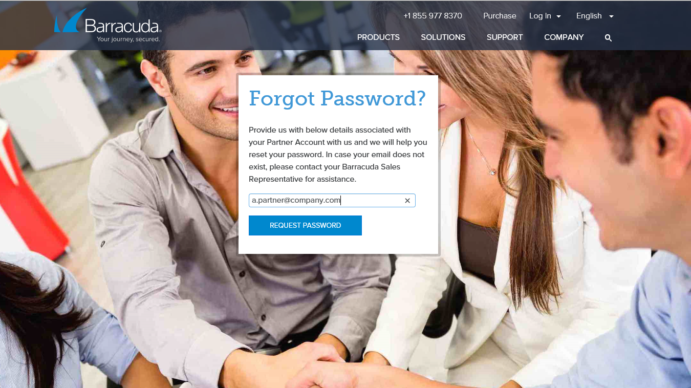 Partner Portal - request password