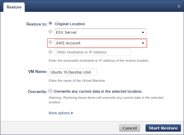 How to Restore VMware and Hyper-V Backups to Amazon Web