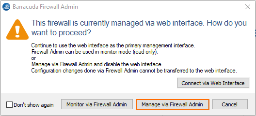 How to Switch from the Web Interface to Barracuda Firewall Admin