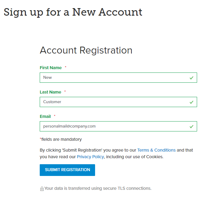 Sign up for a new account