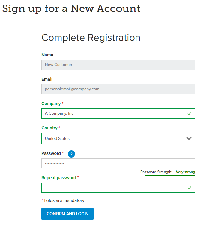 Complete registration