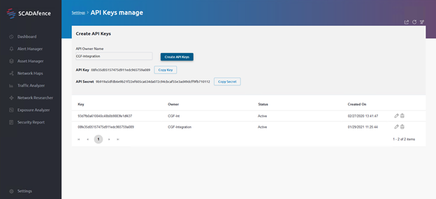 SCADAfence API Key Management